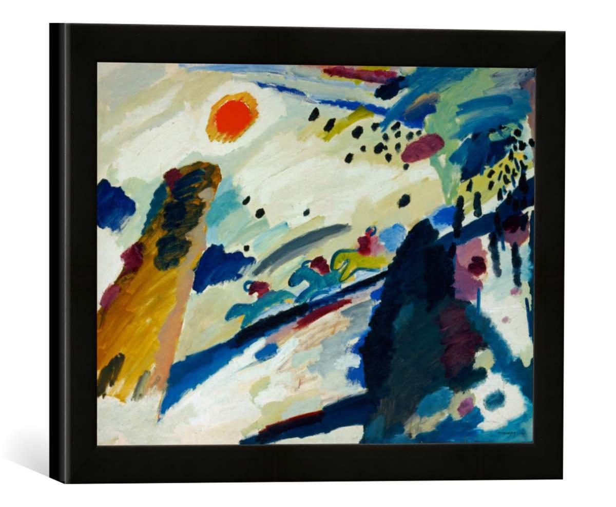 Gerahmtes Bild von Wassily Kandinsky Romantische Landschaft, Kunstdruck im hochwertigen handgefertigten Bilder-Rahmen, 40x30 cm, Schwarz matt