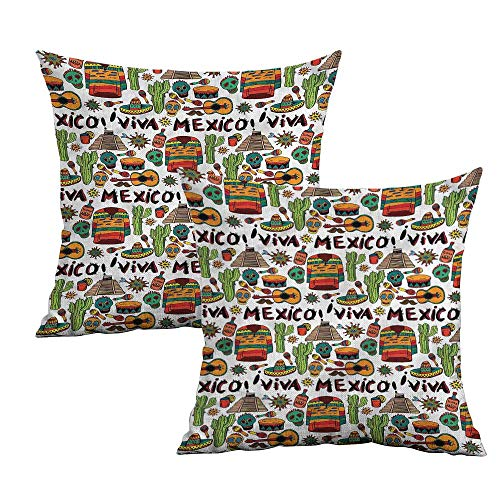 Khaki home Mexican Square Kids Pillowcase Cartoon Cactus Salsa Square Personalized Pillowcase Cushion Cases Pillowcases for Sofa Bedroom Car W 14