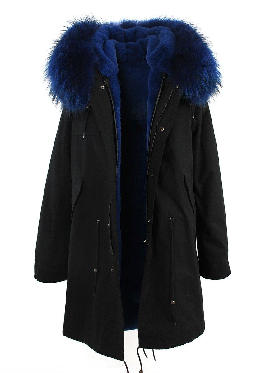 Melody Women's Army Green Large Raccoon Fur Collar Hooded Long Coat Parkas Outwear Rabbit Fur Lining Winter Jacket (X-Large, Black Blue)
