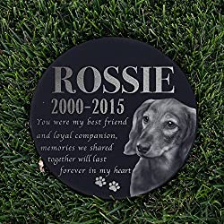 "Personalized Dog Memorial With Photo Free Engraving MDL2 Customized Grave Marker | 12"" Round"