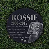 Personalized Dog Memorial With Photo Free Engraving MDL2 Customized Grave Marker | 12'' Round