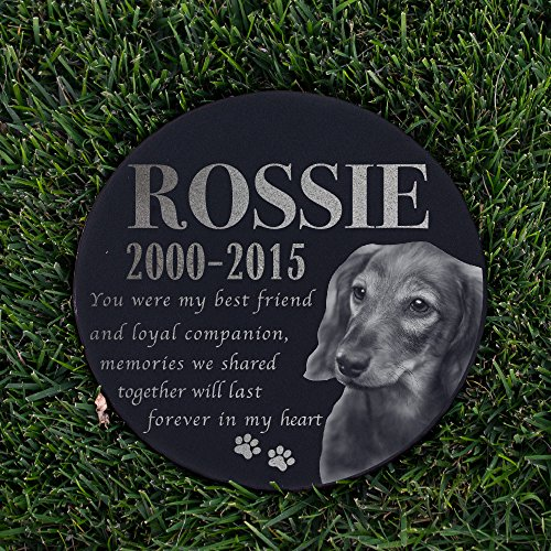 Personalized Dog Memorial With Photo Free Engraving MDL2 Customized Grave Marker | 12'' Round by Sugar Yeti