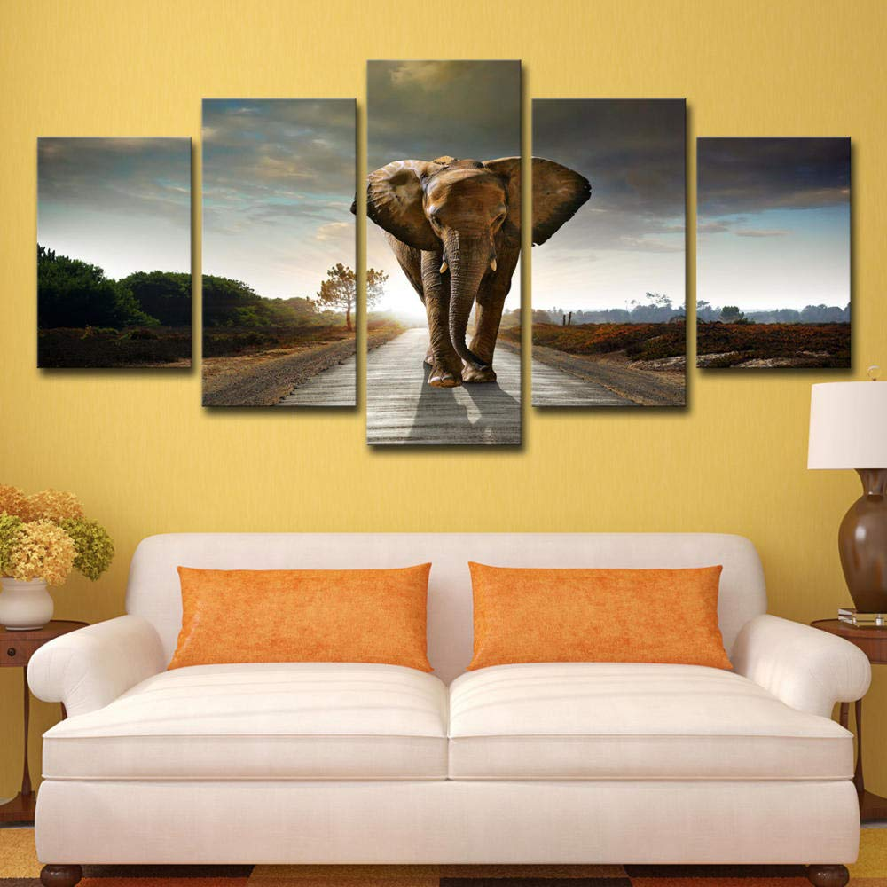 WALLDOR Canvas Painting 5 Pieces Artwork Home Wall Decor African Elephant Walking on Animal Road Modern HD Print Poster Modular Picture Living Room Background Art Gift Framed B