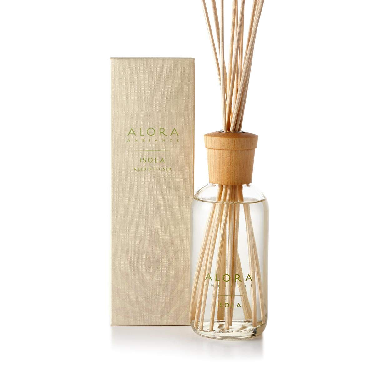 Alora Ambiance Isola 8 oz Reed Diffuser | Long-Lasting Light & Floral Fragrance | Beautifully Designed for Any Space