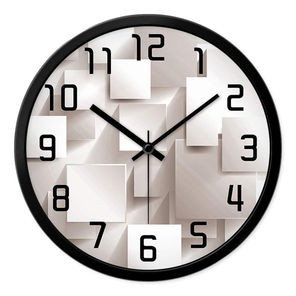 XPY-wall clock Wanduhr funkwanduhr bahnhofsuhr Bürouhr Wohnzimmer Haus Dekorative Runde Quarzuhr stumm Wanddiagramme 14 Zoll Schwarzer Stiftschwarzrahmen