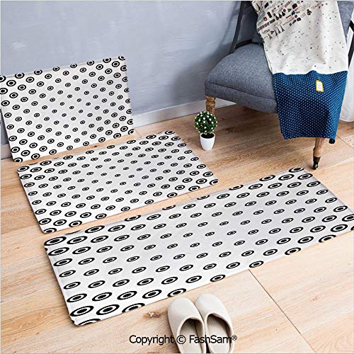 FashSam 3 Piece Flannel Bath Carpet Non Slip Different Round Shaped Dots Spots Motif Simple Abstract Background Front Door Mats Rugs for Home(W15.7xL23.6 by W19.6xL31.5 by ()