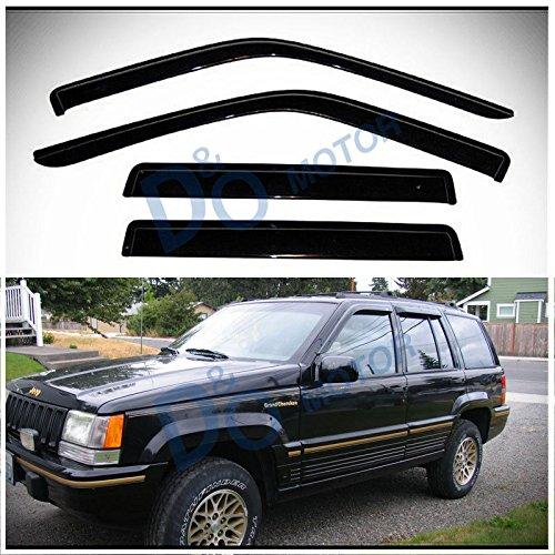 Nice D&O MOTOR 4pcs Front+Rear Smoke Sun/Rain Guard Outside Mount Tape-On Vent Shade Window Visors For 93-98 Jeep Grand Cherokee