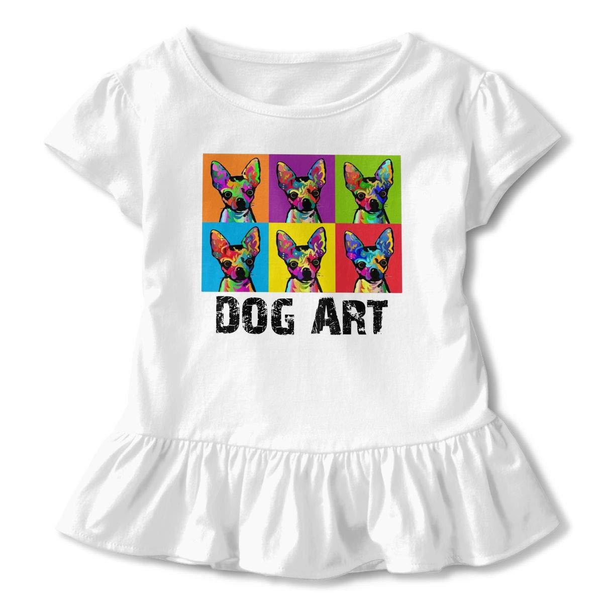 Dog Pop Art Toddler Girls T Shirt Kids Cotton Short Sleeve Ruffle Tee