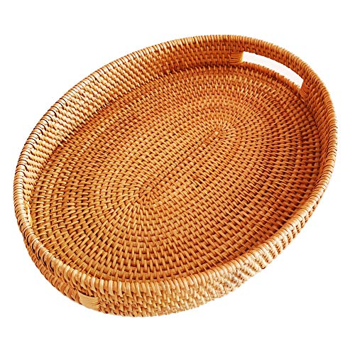 Storage Platter Oval - Oval Rattan X-Large Severing Tray for Fruit,Breakfast, Drinks,Food Storage Platters Plate Snack for Coffee Table(XL-38cm)