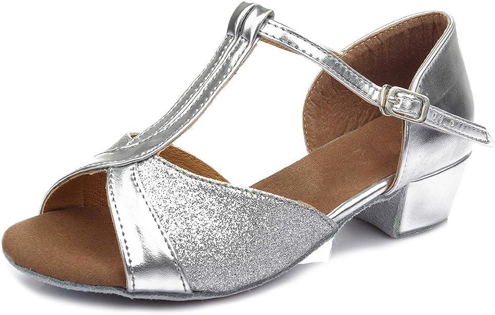 HIPPOSEUS niña Zapatos de Baile Latino, Dedos Abiertos, tacón Bloque 3.5 CM, ES305
