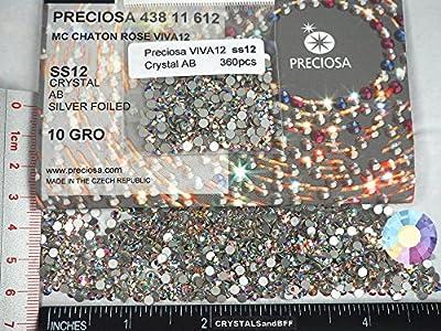 ss12 (3mm) Crystal AB, Preciosa Genuine Czech Crystals new VIVA12 MC Chaton Rose Flatbacks Article 438-11-612, Viva Rhinestone Roses, 12ss
