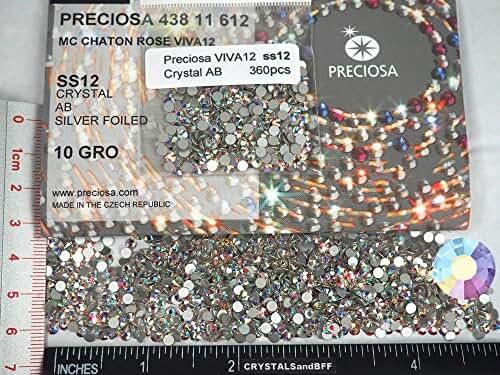 360pcs ss12 (3mm) Crystal AB, Preciosa Genuine Czech Crystals new VIVA12 MC Chaton Rose Flatbacks Article 438-11-612, 12-Faceted Viva Machine Cut Rhinestone Roses, 12ss