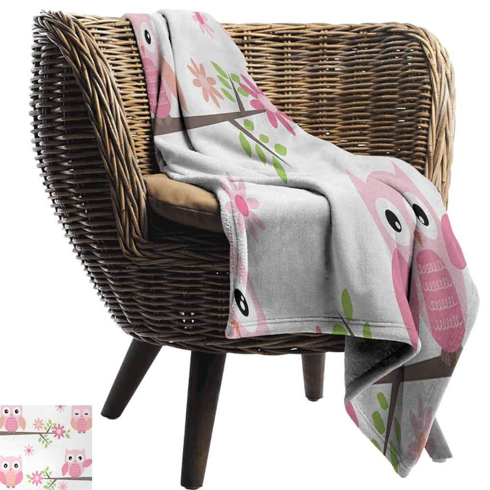 vanfan-home Owl Printing Throw Blanket,Cute Baby Owls Waving in The Floral Tree Springtime Artful Girly Design Print Plush Hypoallergenic Blanket for Living Room (90''x70'')-Pink Green White