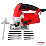 Apollo Heavy Duty 600W Power Jigsaw with Quick Blade-Change Mechanism, Adjustable Speed Thumbwheel, Large Trigger Switch with Lock-On For Continuous Use, Splinter Safety Guard, Dust Extraction Port & 10pc Mixed Blade Set for Metal & Wood