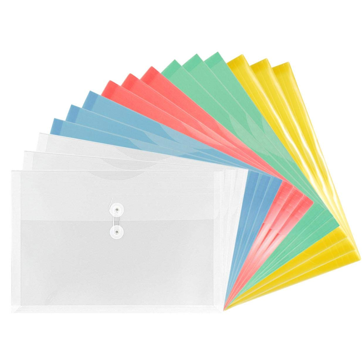 TIENO Assorted Clear Plastic Envelopes with String Closure Legal Size Side Loading Folders PVC Office Study Organizer 15PCS