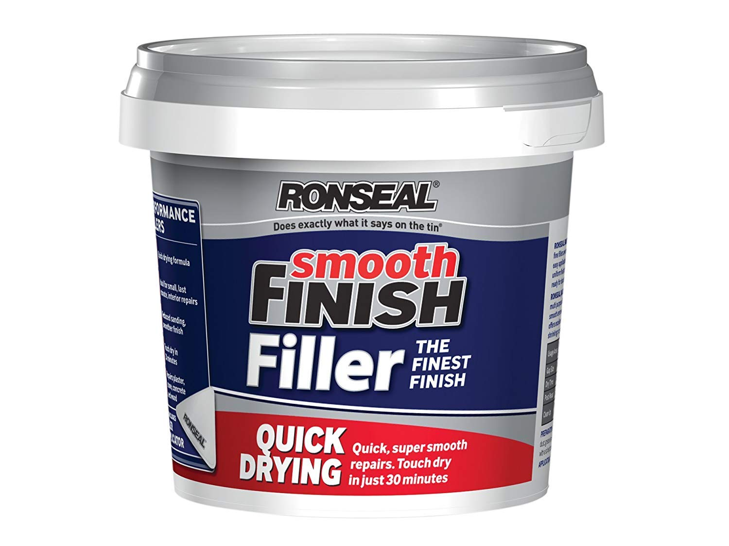 Ronseal 36553 Quick Drying Smooth Finish Ready Mix Wall Filler, White, 600 gm