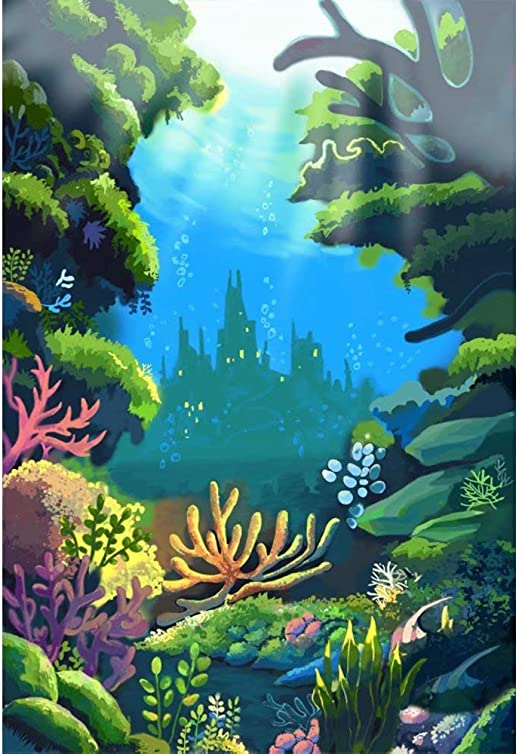 8x12 FT Vinyl Photography Background Backdrops,Underwater Fantasy Kingdom with Shell Houses Water Bubbles Cartoon Illustration Print Background for Photo Backdrop Studio Props Photo Backdrop Wall