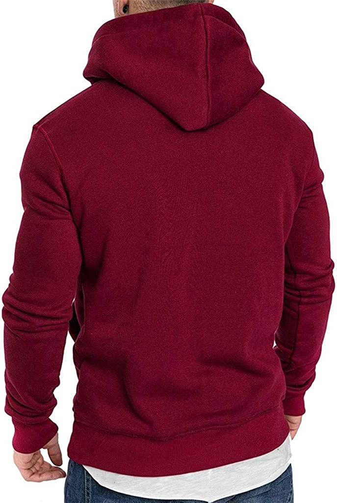 Qinnyo Hooded Sweater for Mens Tops Long-Sleeved Round Neck Solid Color Printing Sweater Tops Blouse Sweatshirt Tees