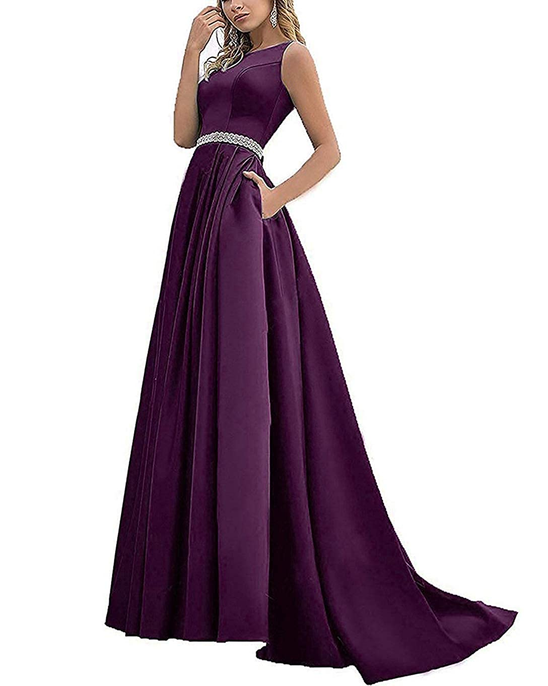 Grape Beaded Satin Prom Dresses Long with Pockets Jewel Neckline Princess Ball Gown