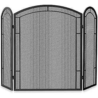UniFlame 3-Fold Iron Fireplace Screen in Black