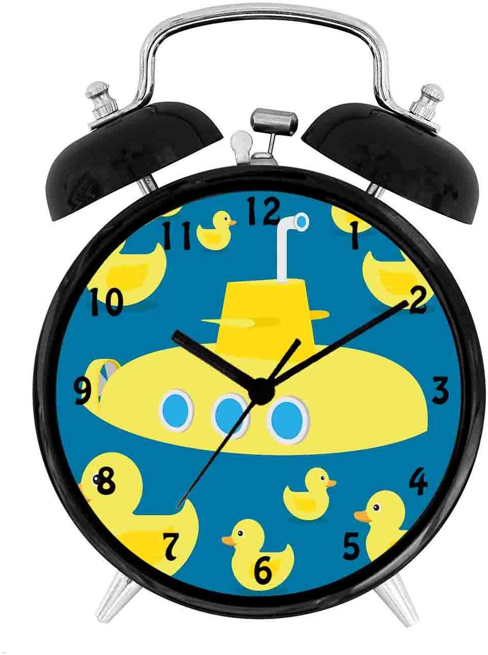 BCWAYGOD Rubber Duck, Duckies Swimming in The Sea with a Yellow Submarine Kids Party Nautical Print,Desk Clock Home Unique Decorative Alarm Ring Clock 4in, Navy Blue