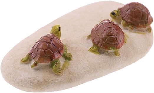 Simday 1 pieza de decoración de mini tortugas, tortuga de jardín en miniatura con piedra para decoración de casa de muñecas de jardín: Amazon.es: Hogar