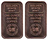 Two One Ounce Pure .999 Copper Bullion Bars by the Golden State Mint In a Custom Microfiber Pouch by Vx Investments