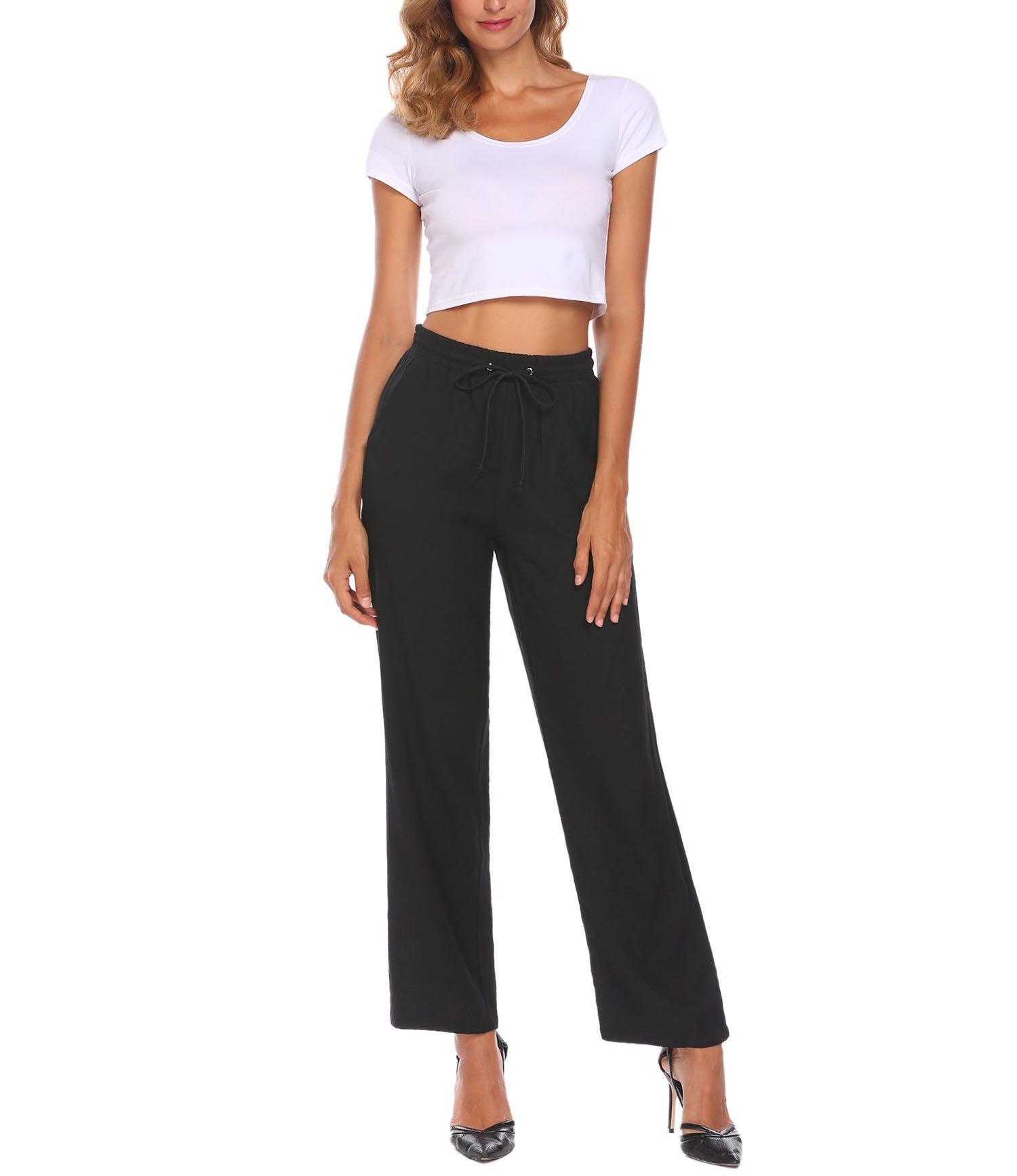 keliqq Women's Casual High Waist Stretchy Skinny Soft Pants