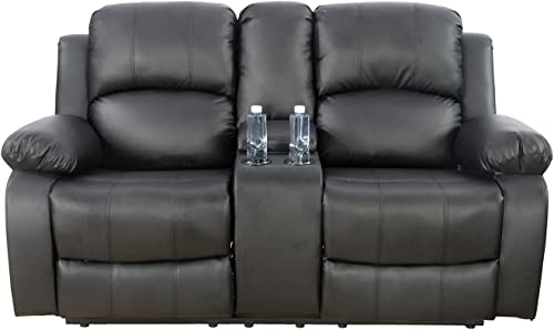 Ainehome Recliner Sofa Couch Bonded Leather Loveseat 2 Seater
