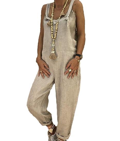 266e3d55ebc3 Amazon.com  Yoawdats Women Loose Cotton Linen Suspender Overalls Jumpsuit  Bib Trousers  Clothing