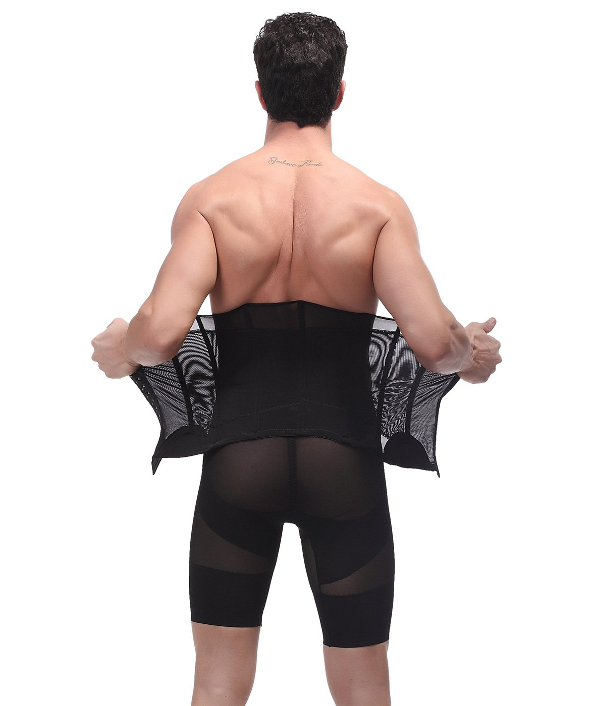 Panegy Mens Waist Trainer Girdle Mesh Beer Belly Trimmer with Adjustable Hooks HJLFS3239-3244
