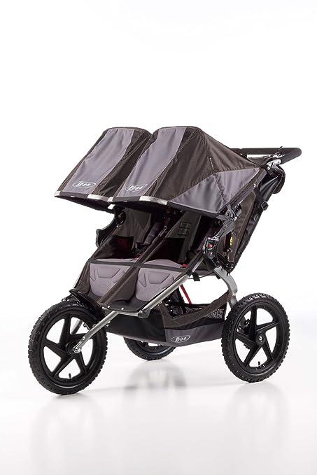 BOB Sport Utility Stroller Duallie - Cochecito todoterreno gemelar de 3 ruedas, color gris y