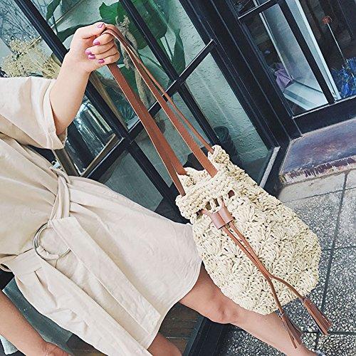 Sukisuki Mode d'été Voyage Plage Grand Sac tissé Femme Paille Tressé Sac à Bandoulière Couleur 1#
