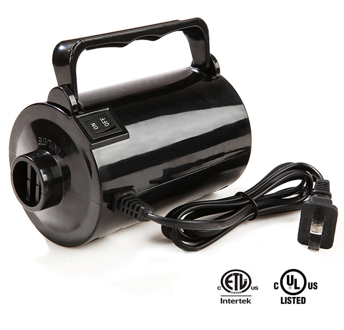 Electric Air Pump for Inflatables High Power Quick-Fill Air Mattress Pump Inflator Deflator for Airbed Raft Pool Toy Exercise Ball with 3 Nozzles, AC 110-120V, Air Flow 26CFM, 1.6PSI, ETL&UL Approved