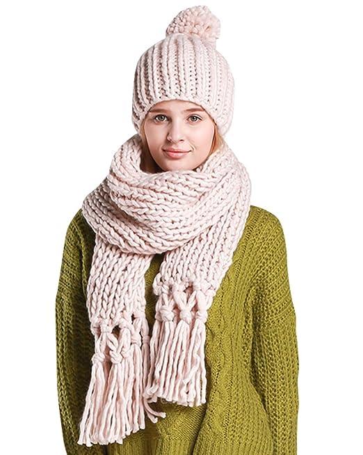 Donna Inverno Addensare Pom-Pom Beanie Cappello Berretto a Maglia e Sciarpa  con Frangia Set Beige  Amazon.it  Abbigliamento 030ec3f2f9ef