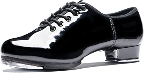 New Men Tap Dance Shoes Low Heel Lace-Up Dancing Performance Shoes With Plates