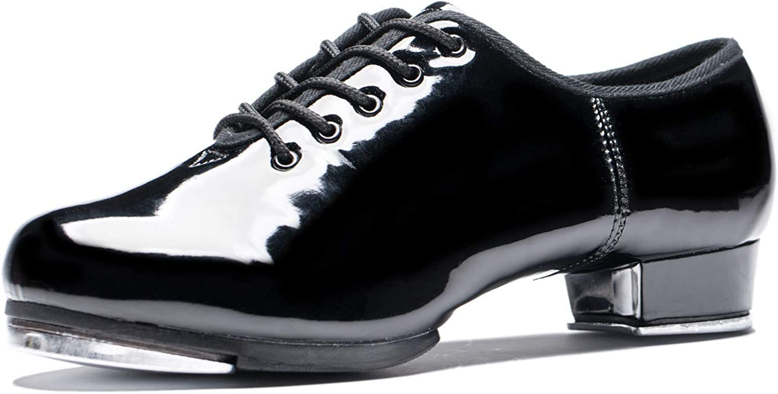 BeiBestCoat Patent Tap Shoes Black