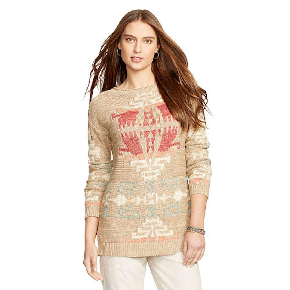 RALPH LAUREN Polo Womens Rollneck Aztec Sweater, Tan, Petite (Petite Large)