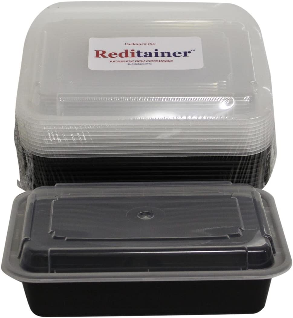 Reditainer - Rectangular Food Storage Containers With Lids For Meal Prep - Microwaveable & Dishwasher Safe (1 Compartment - 28 Ounce - 10 Pack)