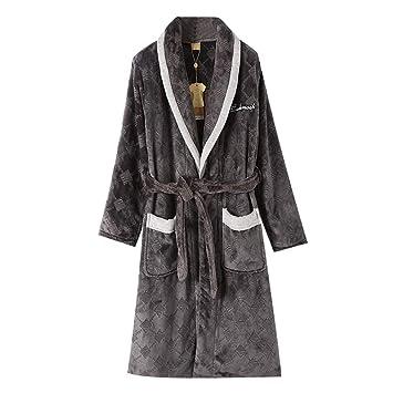 BCL-Pijama Bata De Baño De Lujo para Hombre Supersoft Shawl Collar Albornoz Ropa De Dormir Corta (Color : Gray B, Tamaño : XXXL): Amazon.es: Hogar