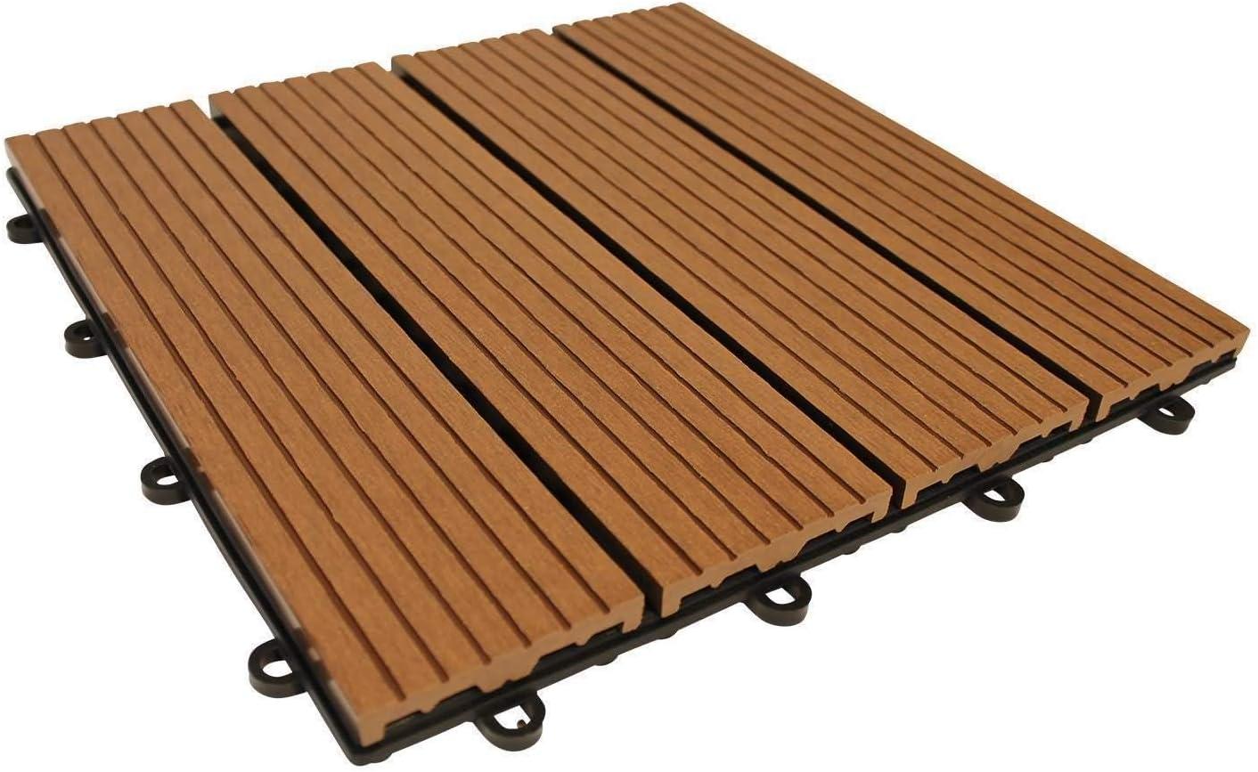 Top-Multi WPC Holz Fliese 30x30cm Light Brown 1m/² 1m/²=11 Fliesen