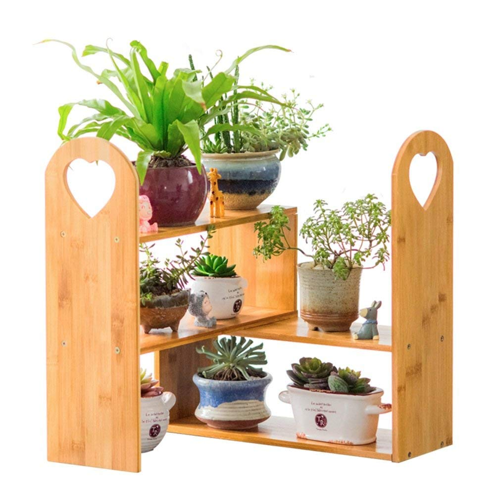 WI Flower Stand-Flower Rack DIY Multifunction Solid Wood Multilayer Indoor Storage Racks Bamboo Succulents Bonsai Frame by WI