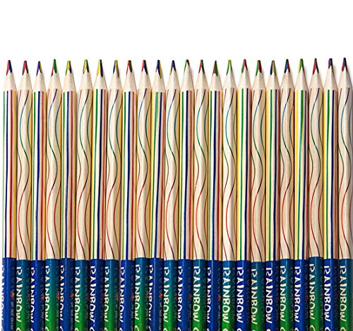 30 PCS Rainbow Color Pencils 4-in-1 Color Pencils Assorted Colors for Kids Adults Art Drawing, Coloring, Sketching,Pencils For Drawing Stationery (Rainbow color 30PCS)]()
