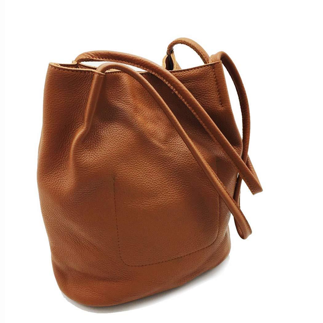 Retro läder handväska axelväska handväska kvinnlig väska läder Brun