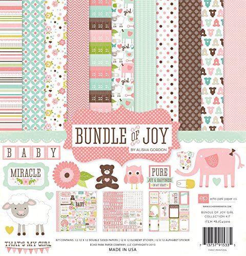 Echo Park Paper BJG45016 Bundle of Joy Girl Collection Scrapbooking Kit (Baby Girl Scrapbook)