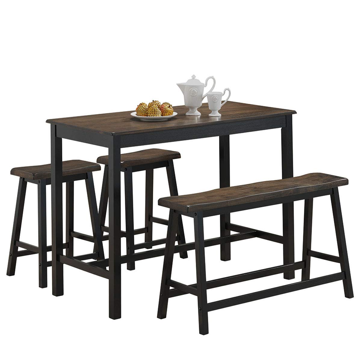 COSTWAY 4-Piece Solid Wood Dining Table Set, Counter Height Dining Furniture with One Bench and Two Saddle Stools, Modern Style with Foot Pads, Ideal for Home, Kitchen, Living Room (Gray & Brown)