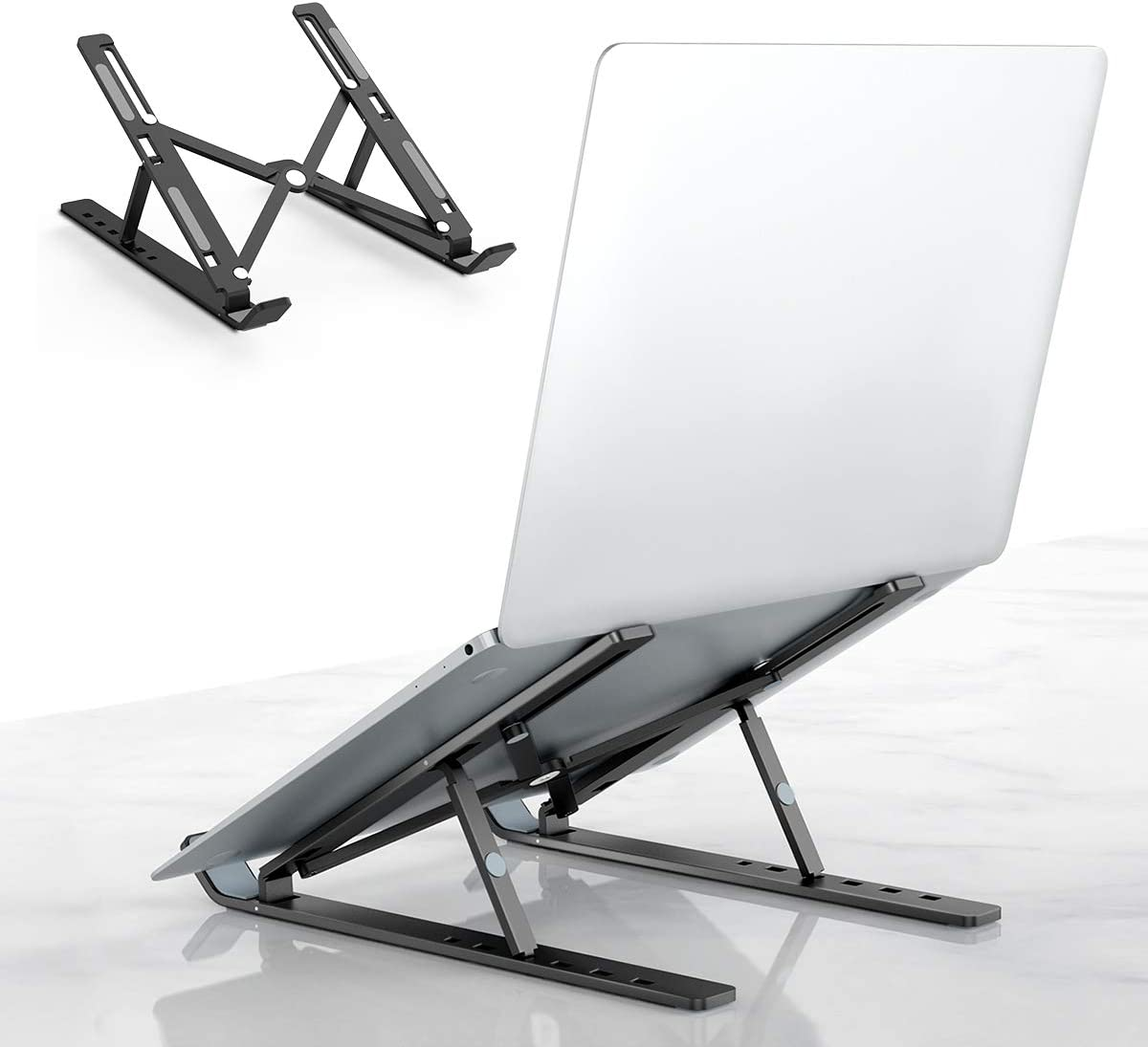 "Laptop Tablet Stand, Universal Lightweight Adjustable Aluminum Laptop Computer Stand, Ergonomic Foldable Portable Desktop Tray Cooling Holder Compatible with Dell, HP and 10""-15.6"" Devices (Black)"