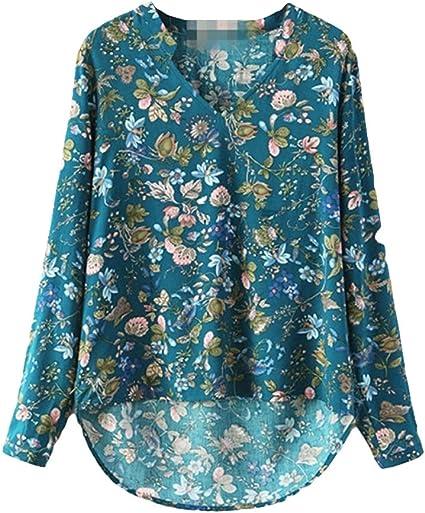 Starlit Retro Sweet Flower Print - Blusa de Manga Larga para Mujer (algodón y Cuello en V)