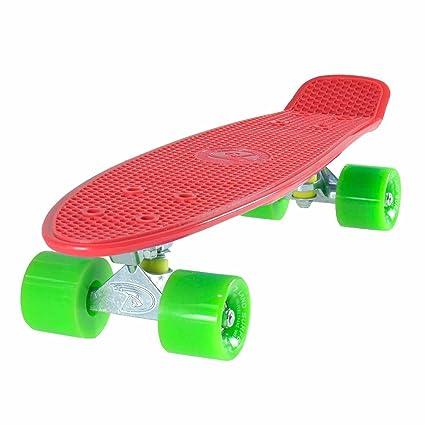 LAND SURFER® Skateboard Cruiser Retro Completo 56cm - cojinetes ABEC-7 - Ruedas transparentes