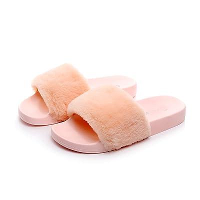 HAVINA Women's Faux Fur Soft Slide Flat Slipper Flip Flop   Slippers